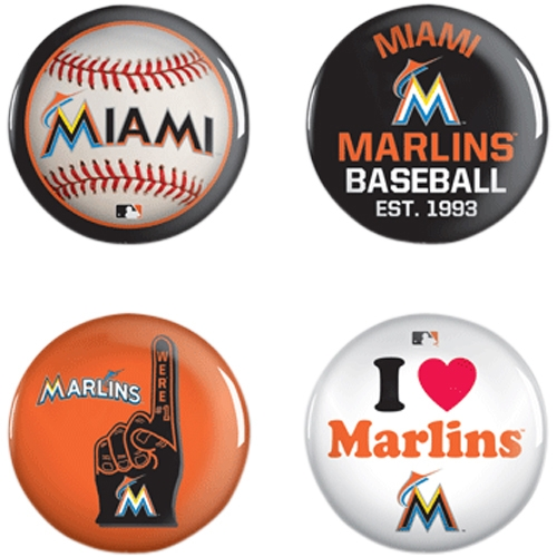 Miami Marlins WinCraft 4-Pack Button Set - No Size