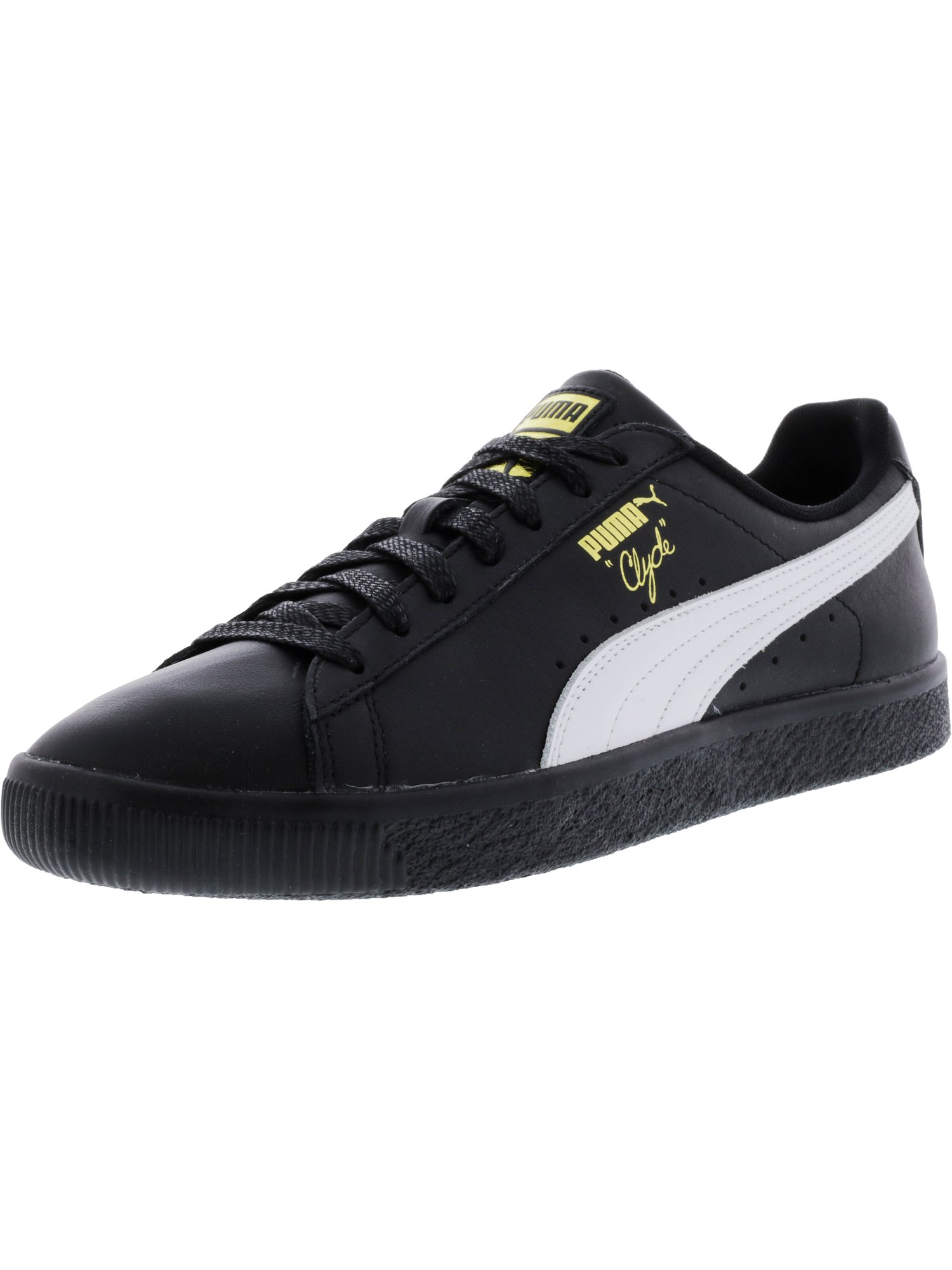 the latest 4cdd3 203ee Puma Men's Clyde Black / White Gold Ankle-High Leather Fashion Sneaker - 12M