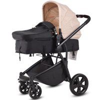 Costway 2 in 1 Folding Aluminum Baby Stroller Buggy Newborn Travel Pushchair Beige
