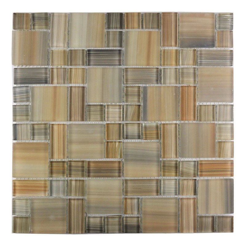 Abolos- Handicraft II Random Sized Glass Mosaic Tile in Glazed Desert (15sqft / 15pc Box)