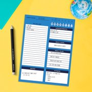"Bright Blue Day 6""x8"" Daily Task Pad - Schedule Notepad for To Do Lists, Meals, and Organization - for Home or Office"