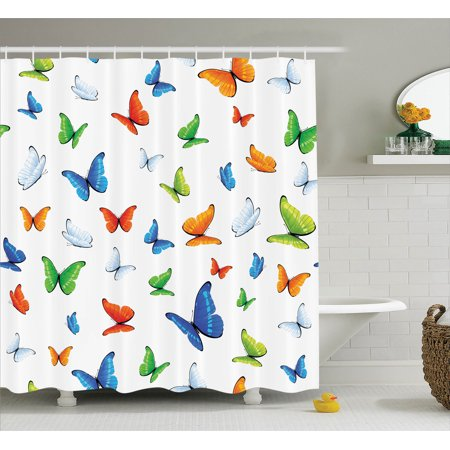 Butterflies Decoration Shower Curtain Set, Butterflies Animal Clipart Ecology Environment Joyful Design Cartoon Tropics, Bathroom Accessories, 69W X 70L Inches, By (Clipart Decoration)