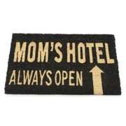 "Mom's Hotel Always Open Decorative Black and Brown Coir Welcome Door Mat 24"" x 16"""