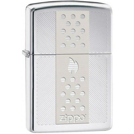Zippo High Polish Chrome Engraved Zippo Logo Lighter (Zippo Engraved Cross)
