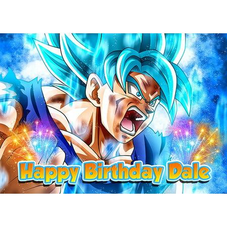 Dragon Ball Super, Son Goku, Anime, Dragon ball Z, Super Saiyan Personalized Cake Toppers Icing Sugar Paper A4 Sheet Edible Frosting Photo Birthday Cake Topper 1/4 - Dragon Ball Z Cake Ideas
