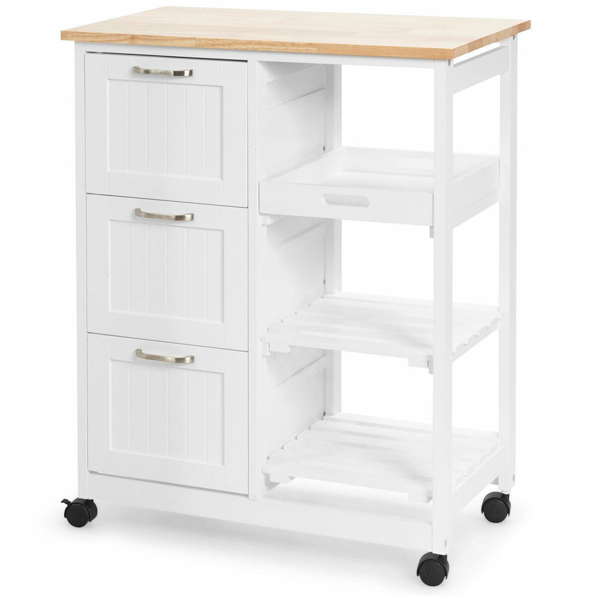 Gymax Rolling Kitchen Island Utility Storage Cart W 3 Storage Drawers Shelves White Walmart Canada