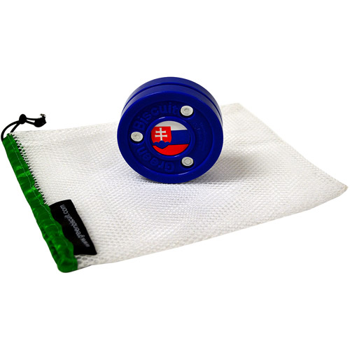 Green Biscuit Flag Puck, Slovakia with Mesh Bag