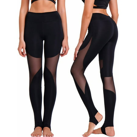 6ebf8ae4444e8 FITTOO - FITTOO Activewear Women's Mesh Yoga Pants Full Length Leggings  Active Gym Workout Running Tights,black,l - Walmart.com