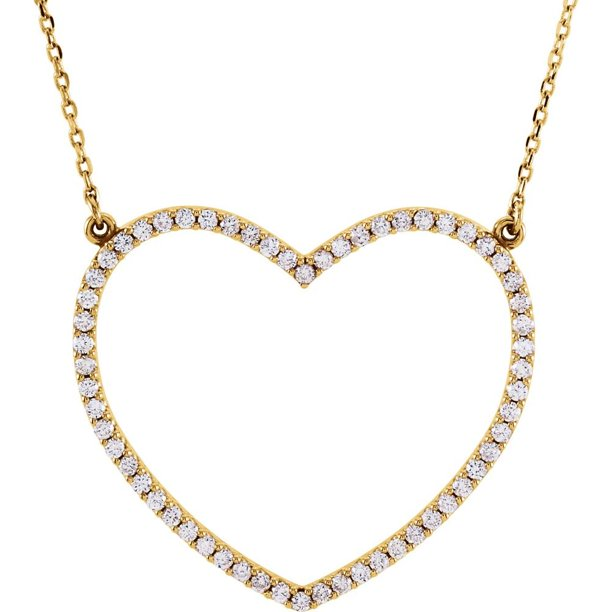 14K Yellow Gold Round Diamond Large Heart Necklace 16 inch...