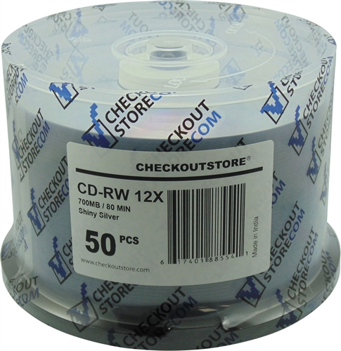 50 CheckOutStore CD-RW 12X 80Min/700MB Shiny Silver
