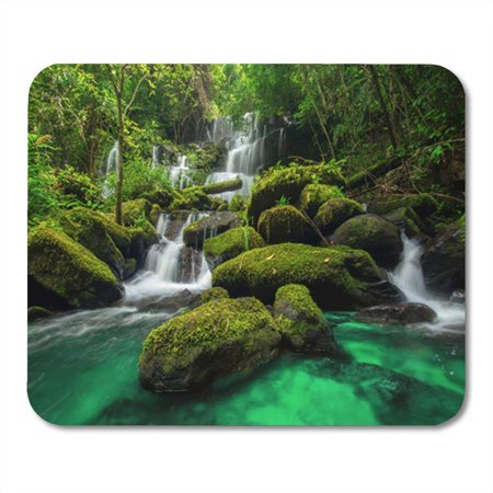 SIDONKU Beautiful Waterfall in Green Forest Jungle at PHU Tub Mousepad Mouse Pad Mouse Mat 9x10 inch