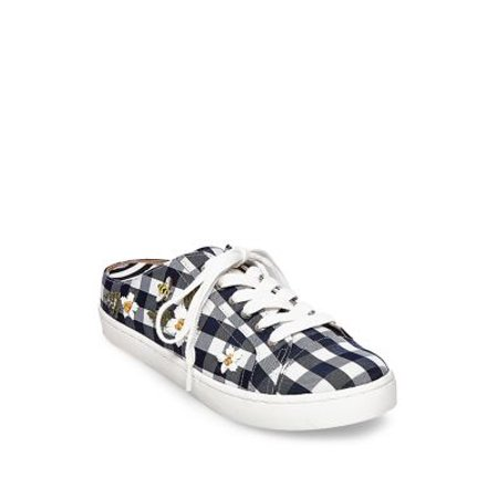 (Womens Betsey Johnson Edna Slip On Sneakers, Blue Gingham)