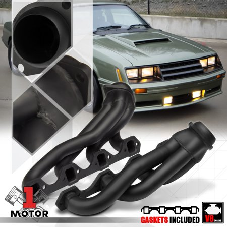 Black Painted Shorty Exhaust Header Manifold for 79-93 Ford Mustang 5.0 302 V8 80 81 82 83 84 85 86 87 88 89 90 91 92