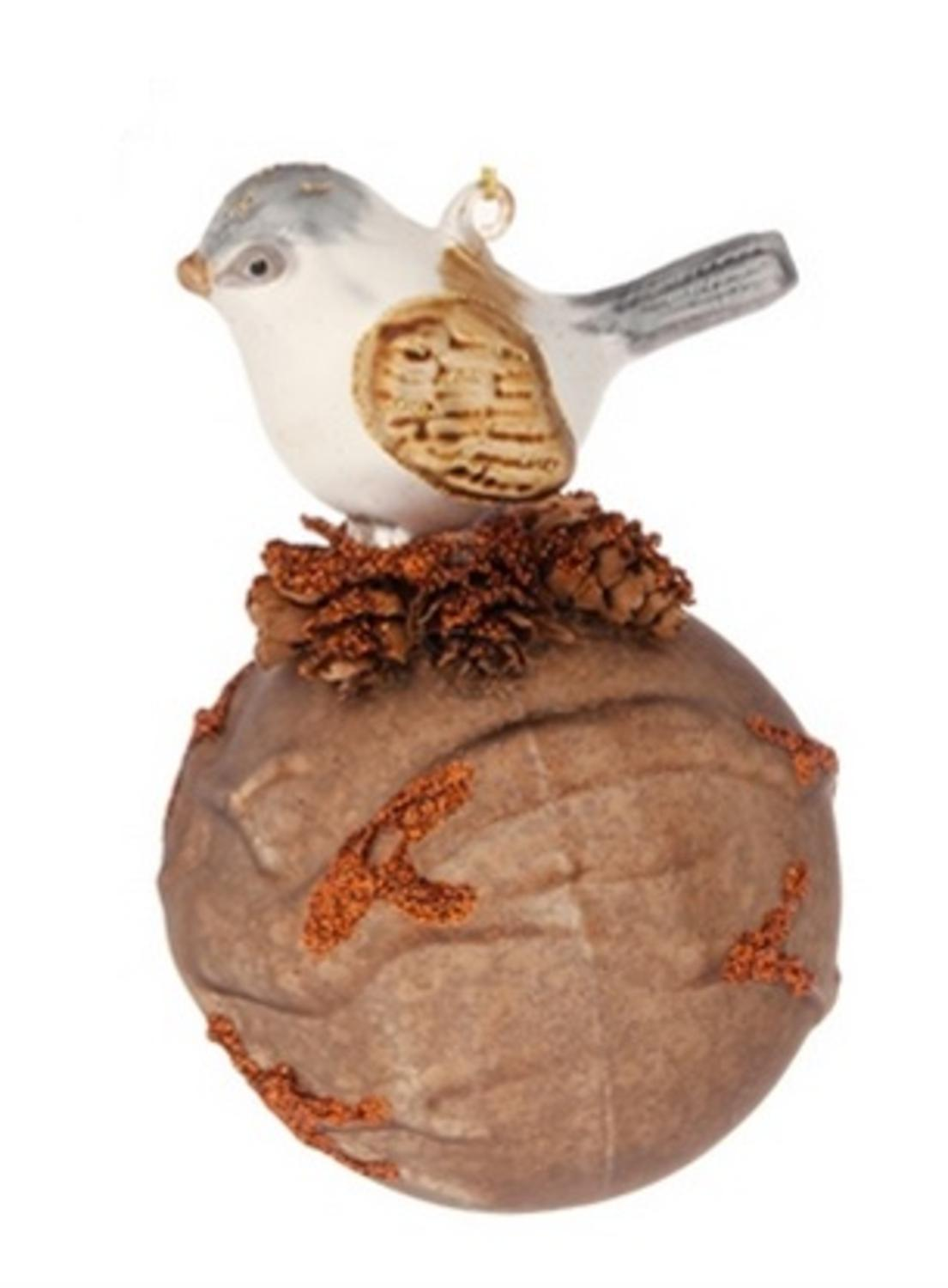 "5.5"" Earth Brown Mercury Glass Ball Glitered Christmas Decoration w/ Perched Bird"