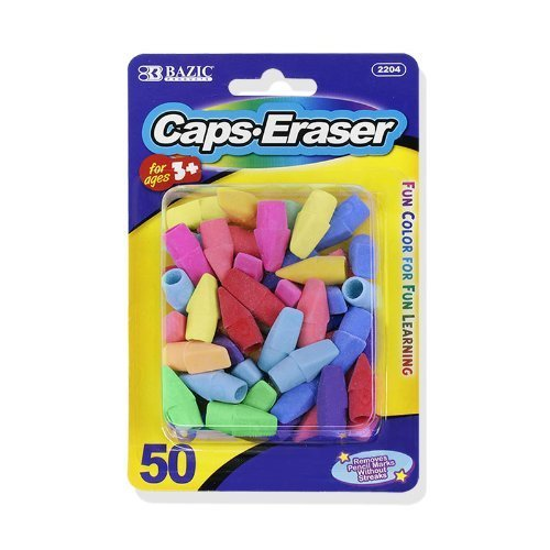 Bazic Pencil Top Erasers, Assorted Colors, Pack of 50