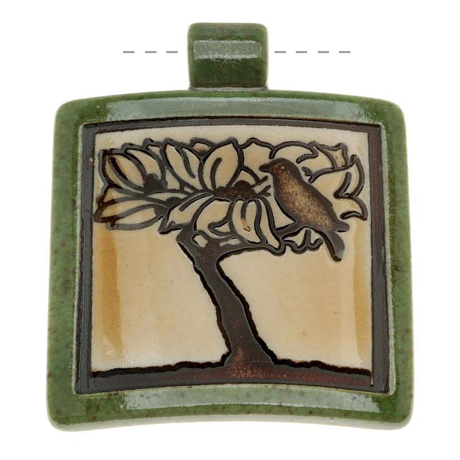 Clay River Designs Porcelain Pendant, 45mm Glazed Square W/ Bird In Tree, 1 Piece, Green