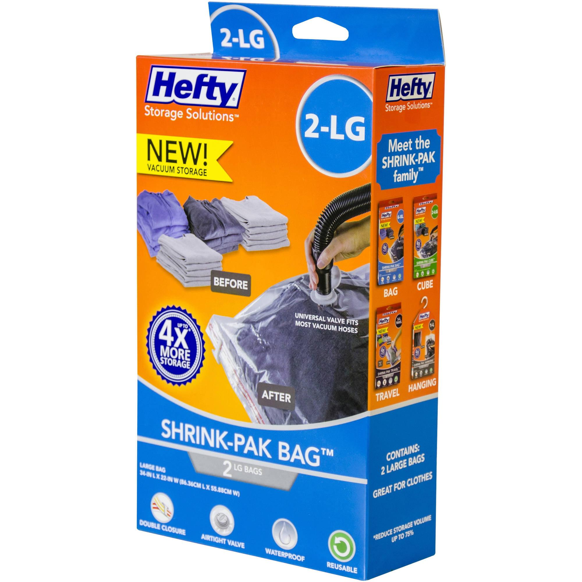 Hefty Shrink-Pak Vacuum Seal Bags, 2 Large Bags