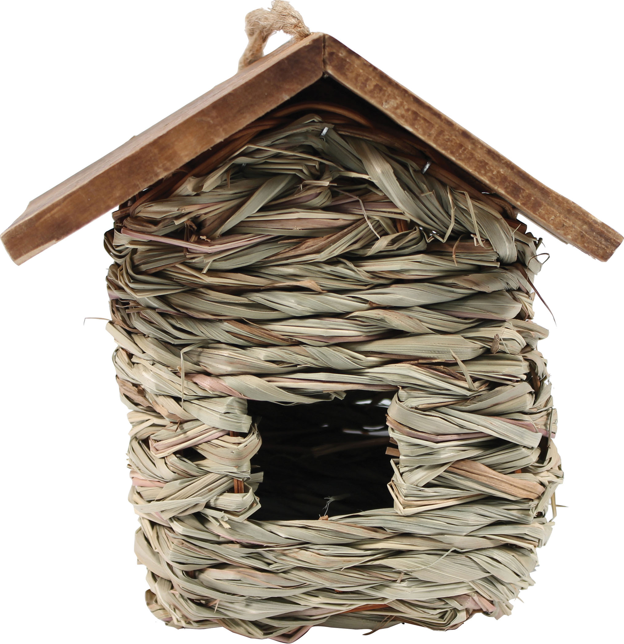 Songbird Essentials-Hanging Grass Roosting Pocket With Roof- Tan 11 Inch