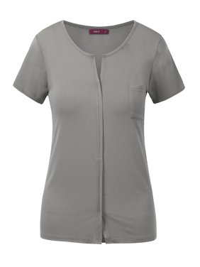 d8db8b4000a Product Image Doublju Womens Short Sleeve Slit V-Neckline T-Shirt With  Pocket