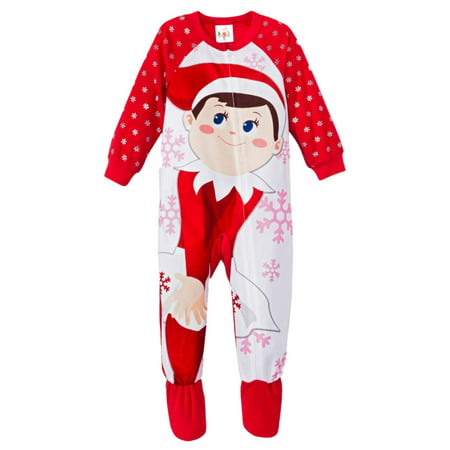 Elf On The Shelf Baby Girl Red Fleece Sleeper Christmas Pajamas (Elf On The Shelf Adult)