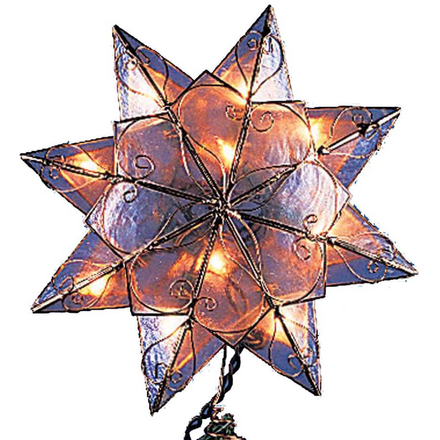 Kurt Adler 10/L 8-Point Capiz Clear Star Tree Topper