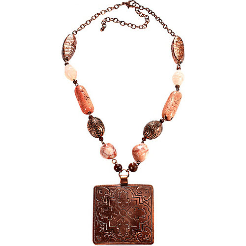Alexa Starr Burnished Copper Square Pendant Necklace With Glass, Wood And Copper Accents
