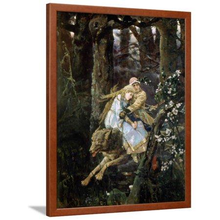 Tsarevich Ivan Riding the Grey Wolf, 1889 Framed Print Wall Art By Viktor Mihajlovic Vasnecov ()