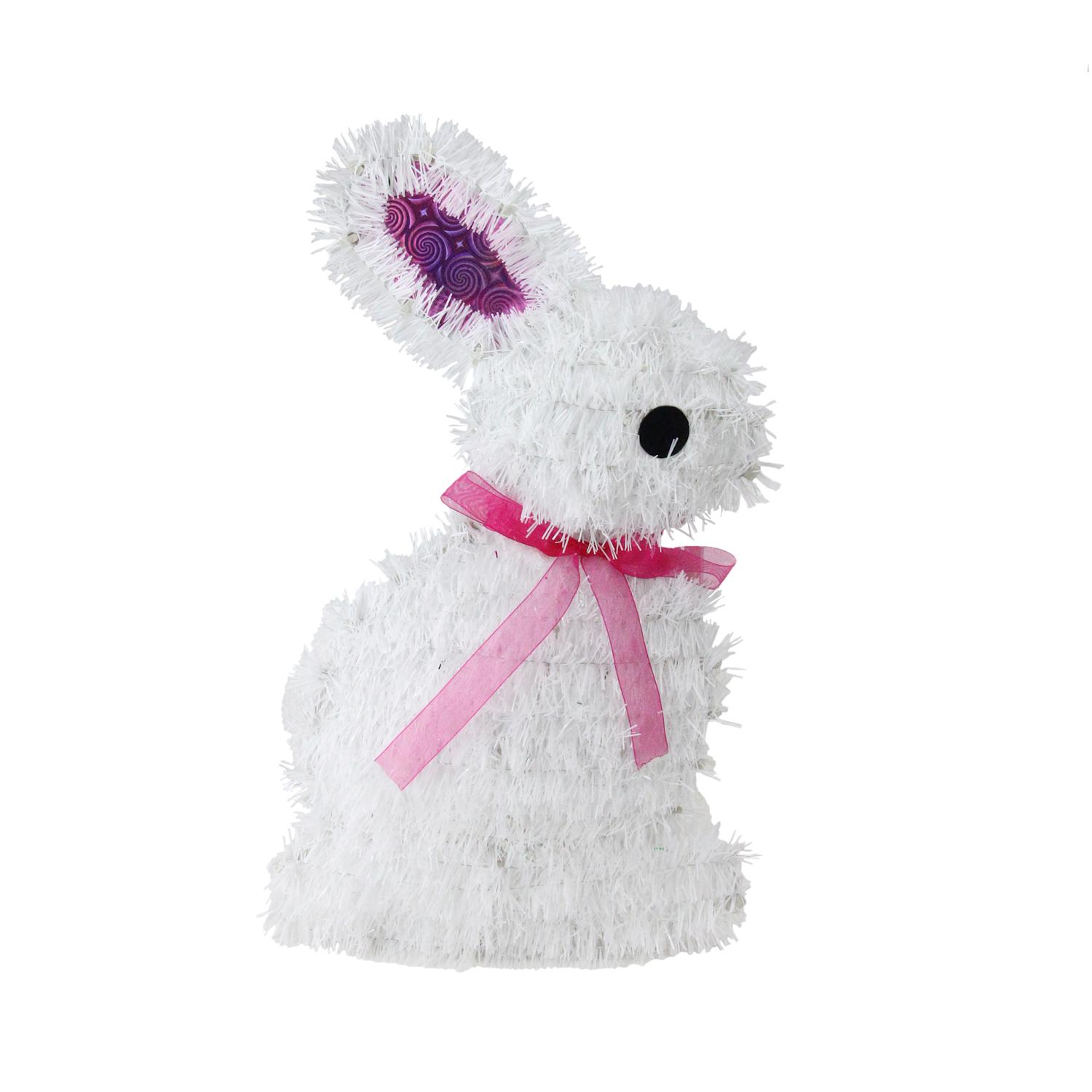 "14"" White Tinsel Easter Bunny Rabbit Spring Window Decoration by Northlight"