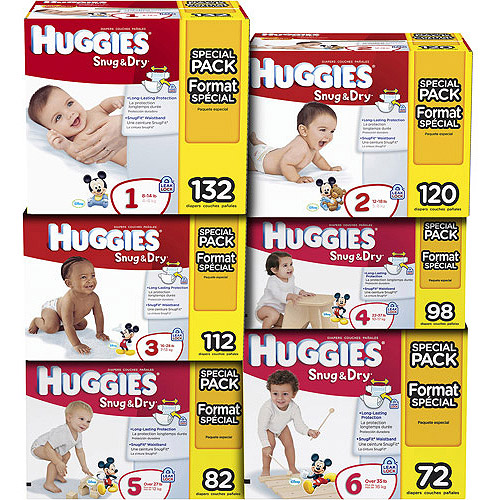 Huggies Snug and Dry Diapers, Super Pack (Choose Your Size)