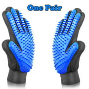 Pet Grooming Gloves Brush Dog Cat Hair Remover Mitt Massage Deshedding 1 Pair Blue
