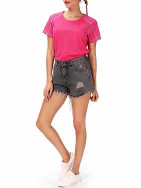 6f7537f300 Product Image LELINTA Women s Jean Shorts Mid Waist Summer Beach Casual  Ripped Demin Short Hot Pants Black