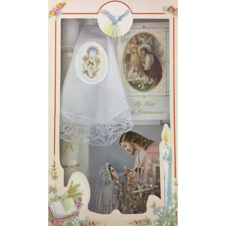 First Holy Communion Girls Gift Set - Handkerchief Remembrance Card Prayer Book Gift