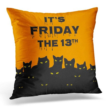 Halloween Superstitions Black Cats (ARHOME Orange Superstition Halloween for Friday 13 with Black Cats Day Pillow Case Pillow Cover 20x20)