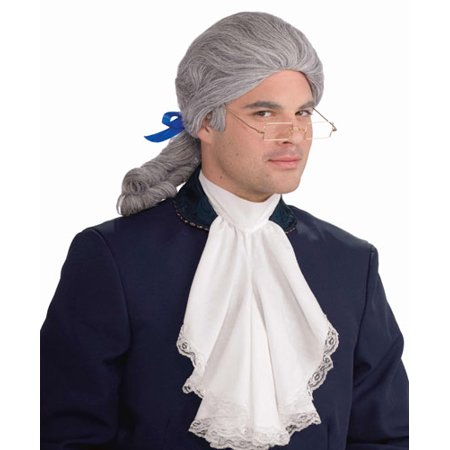 Deluxe Mens White Colonial Wig Costume Accessory