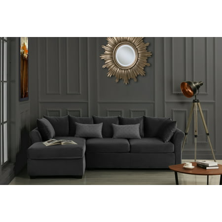 brand new c0703 b0ee5 Large Velvet Sectional Sofa, L-Shape Couch with Extra Wide Chaise Lounge,  Dark Grey