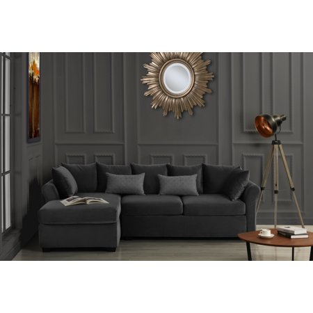 Large Velvet Sectional Sofa, L-Shape Couch with Extra Wide Chaise ...