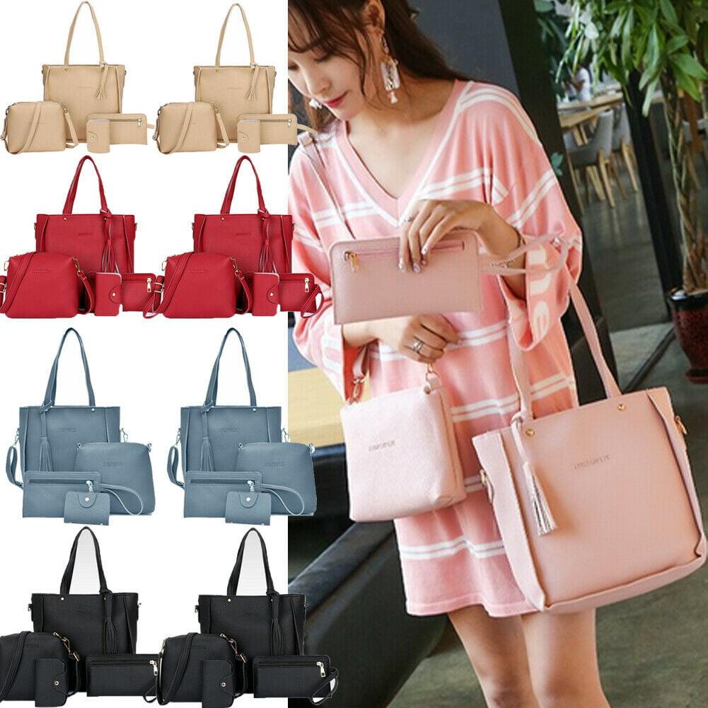 4Pcs//Set Women Lady Leather Handbags Messenger Shoulder Bags Tote Satchel Purse
