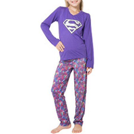 Girl's Supergirl Shield Logo Yoga 2 Piece Pajama Sleep Set (Big Girls & Little Girls)