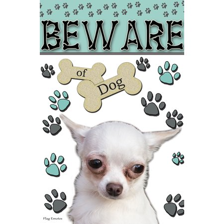 Chihuahua Garden Flag - Flag Emotes - Double Sided Garden Flag - Beware Of Dog - White Chihuahua