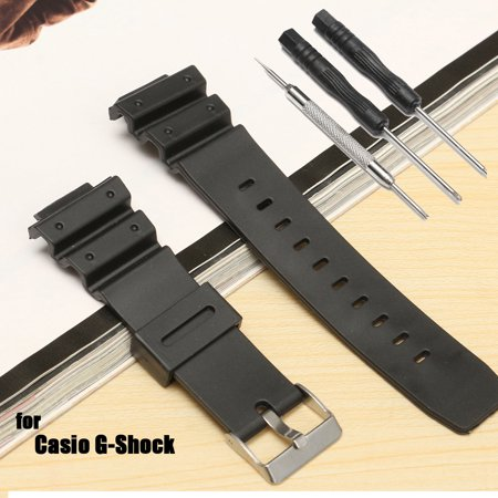 Black Silicon Strap - 25mm Black Silicone Rubber Replacement Watch Band Strap With Tool For Casio G-Shock Series