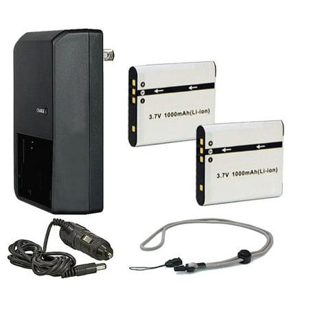 Sony Cybershot DSC-S950 High Capacity Batteries (2 Units) + AC/DC Travel Charger + Krusell Multidapt Neck Strap (Black Finish)
