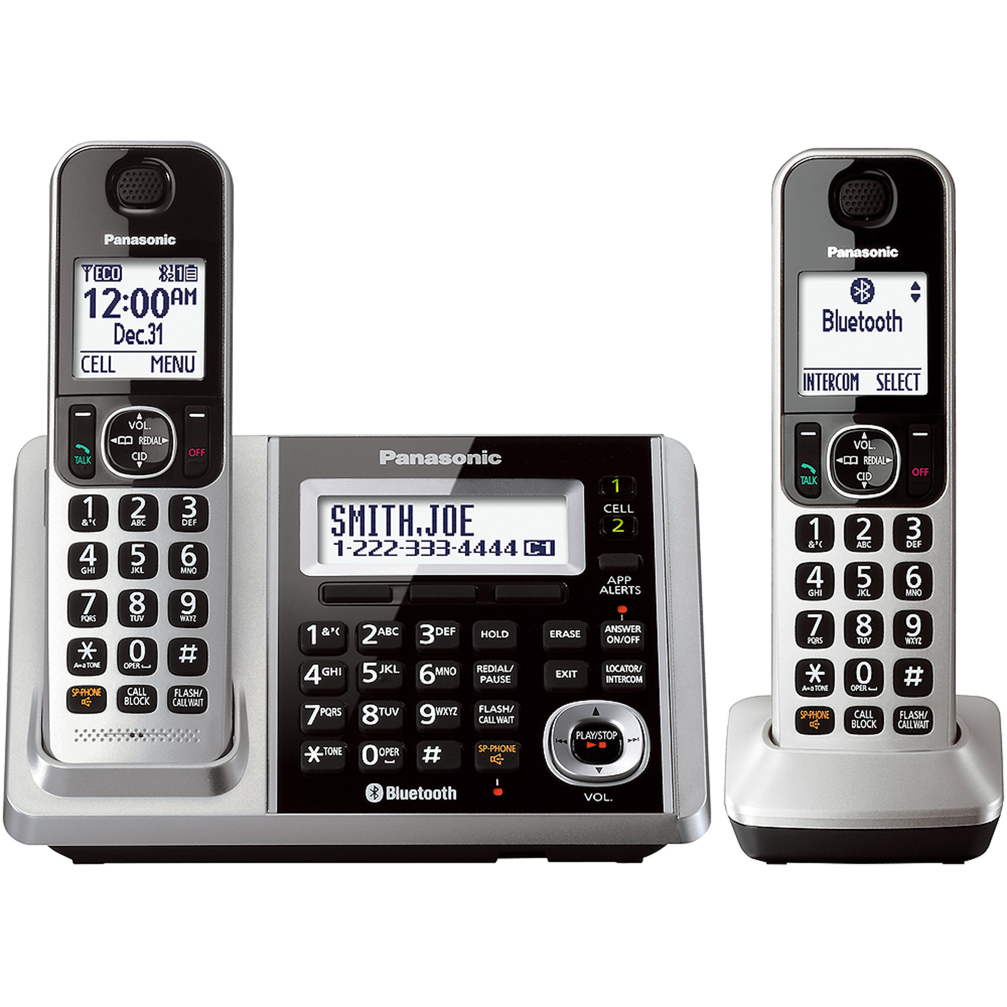 Panasonic Link2Cell Bluetooth Cordless Phone and Answering Machine with 2 Handsets
