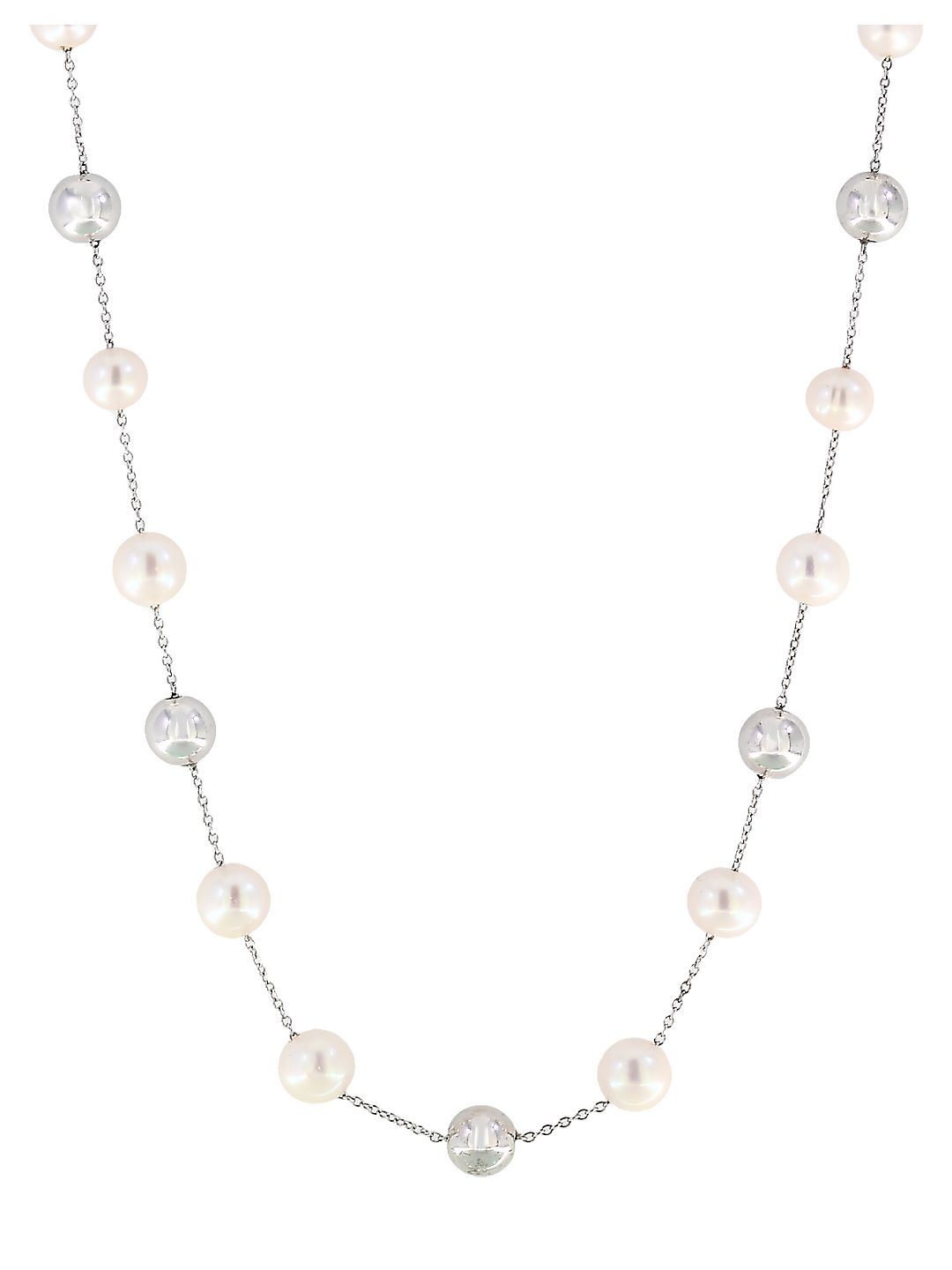 5MM, 6.5MM and 8MM Freshwater Pearl and Sterling Silver Station Necklace