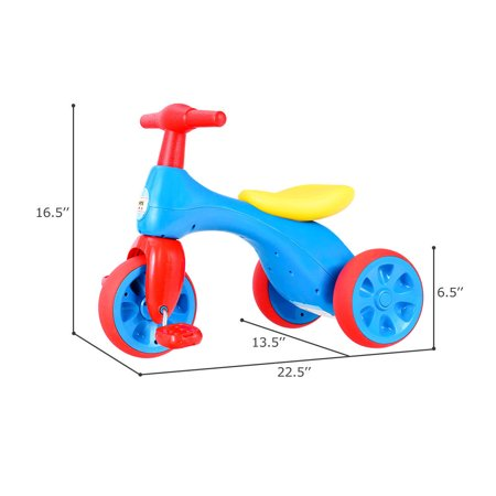 Costway 2 in 1 Toddler Tricycle Balance Bike Scooter Kids Riding Toys w/ Sound & Storage - image 8 of 10