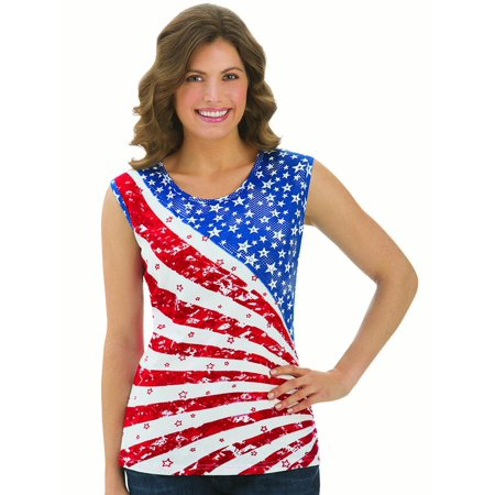 Women's Starburst American Flag Sleeveless Tank Top with Sparkling Sequin, Large, Blue (Large Sleeveless)
