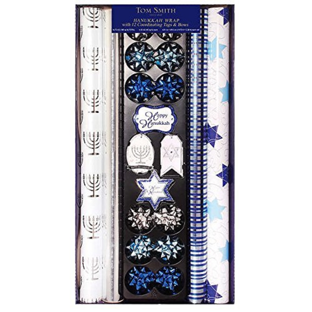 Tom Smith Hanukkah Wrapping Paper, Coordinating Tags & Bows
