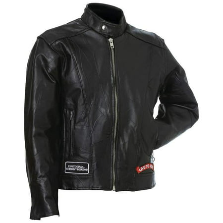 Diamond Plate™ Rock Design Genuine Buffalo Leather Motorcycle Jacket - 3x - GFCRLTR3X Diamond Plate Motorcycle Jacket