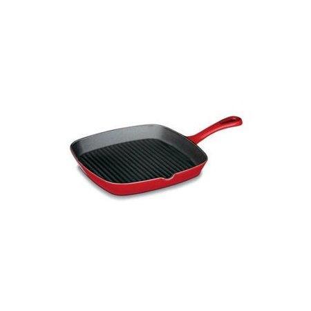Cuisinart CI30-23CR Chef's Classic Enameled Cast Iron 9-1/4-Inch Square Grill Pan, Cardinal