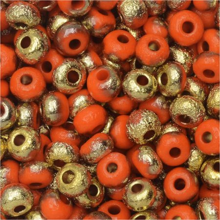- Czech Glass, Bohemian Aged 6/0 Round Seed Beads, 10 Grams, Etched Orange and Amber