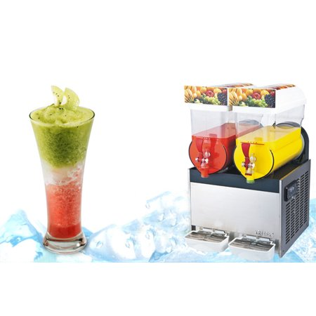 110V Commercial 2 Tank Frozen Drink Slush Slushy Making Machine Smoothie Maker 30 L(Item#210076) (Frozen Custard Machine)